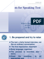 Hints for Speaking IELTS Tests