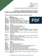 RELAÇÃO DE NORMAS TÉCNICAS APLICÁVEIS AO PROJETO DE EDIFICAÇÕES