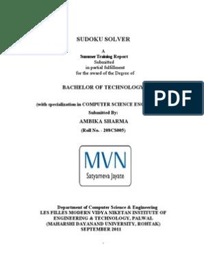 SUDOKU document   Java Virtual Machine   Java (Programming
