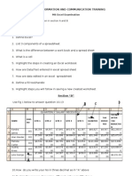 Victory Information and Communication Training Excel Examination Questions Original