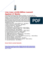 THE FALL OF SUBPRIME MORTGAGES-US GOVT SUES BIG BANKS AND SECURITIES FIRMS FOR $196 BILLION - SEE LIST AND BREAKDOWN OF AMOUNTS BY INSTITUTION- LINKS TO LAWSUITS