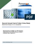 Annual Ponemon Cost of Cyber Crime Study