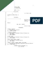 Federal Court against Village of KJ Transcript 8-31-11