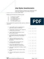 likert style questionnaire on effectiveness of instruction