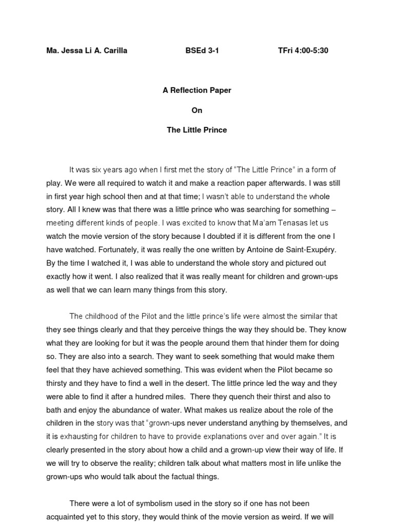reflection paper the little prince the little prince - Examples Of Self Reflection Essay