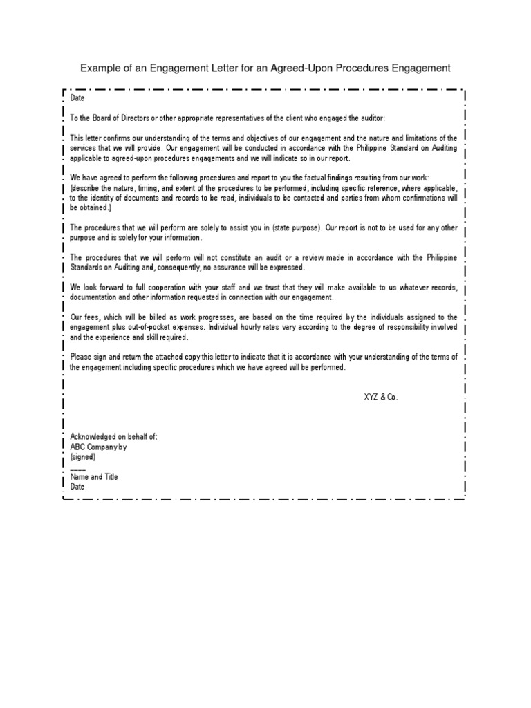 Example Of An Engagement Letter For An Agreed Accounts Payable