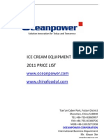Ocean Power Ice Cream Equipment Price List 2011