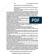 NORMAS GENERALES PARA LA CLASE DE EDUCACIÓN FÍSICA