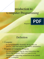 1) Introduction to Computer Programming