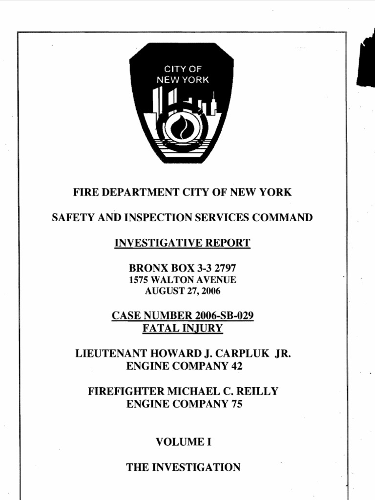 FDNY report on fatal fire, August 27, 2006 | New York City Fire Department  | Firefighter