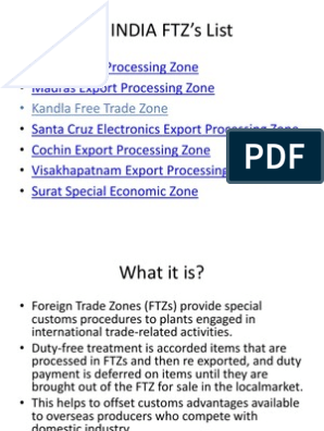 In INDIA FTZ's List | International Business | Trade