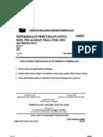 Trial Mate Spm Terengganu 2011 Paper 1