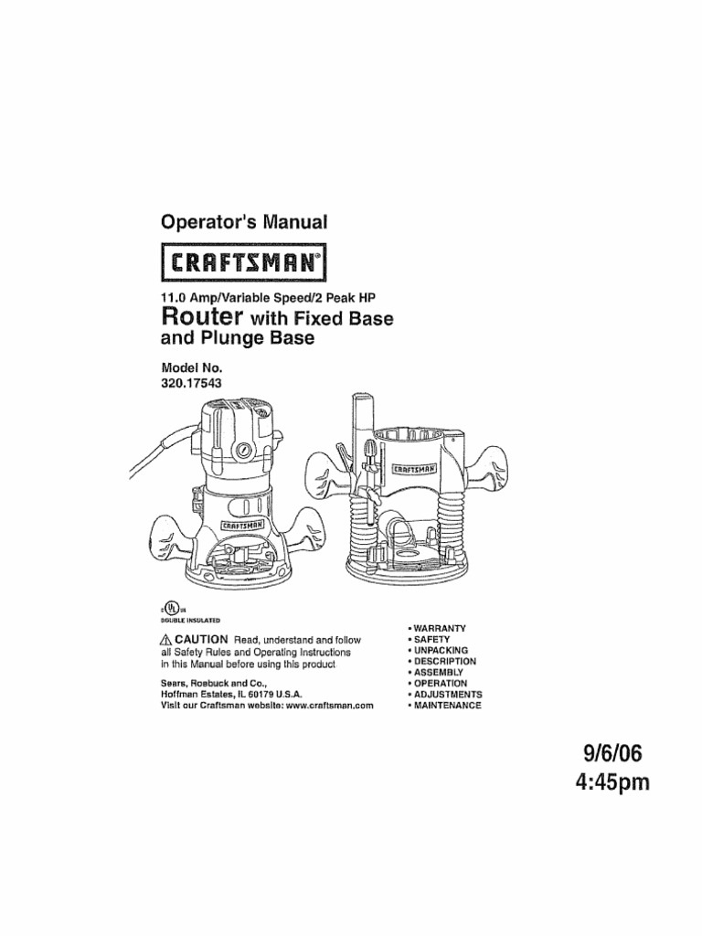 Router Manual 32017543 Ac Power Plugs And Sockets Safety Wiring Diagram For Craftsman