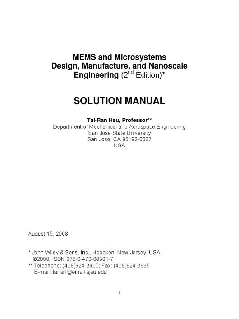 Download Free Microsystem Design Senturia Solution Pdf Software