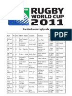 UAE Rugby World Cup Television Schedule