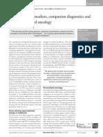 Cancer Bio Markers, Companion Diagnostics and Personalized Medicine