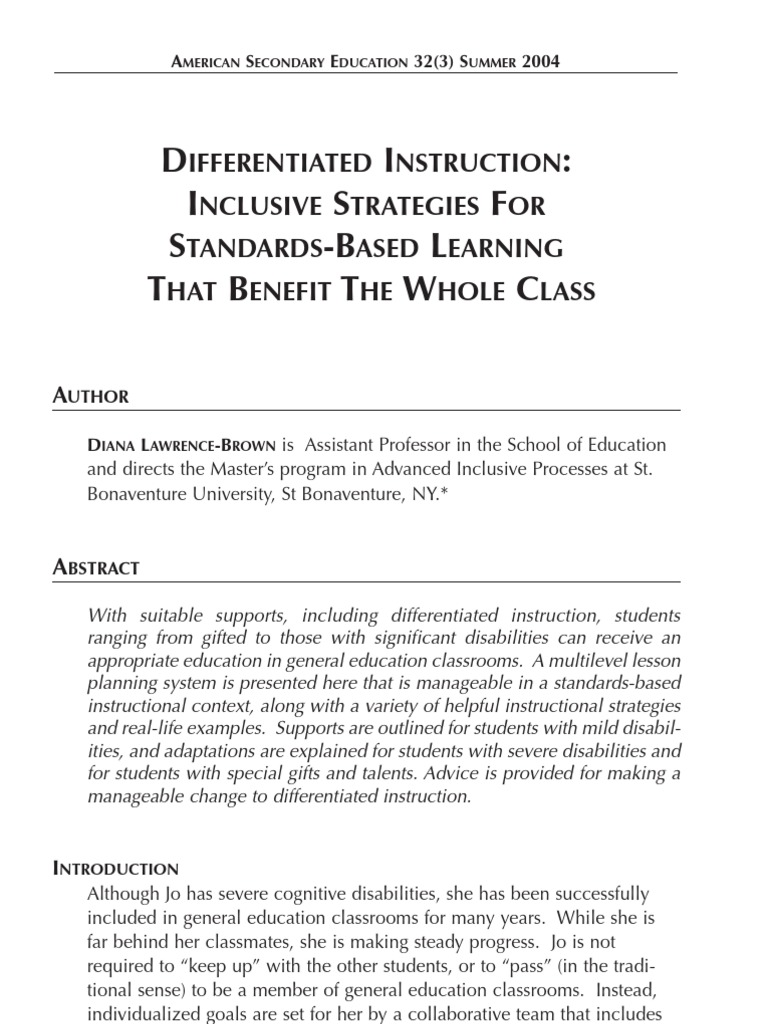 Differentiated Instruction Inclusive Strategies For Standards Based