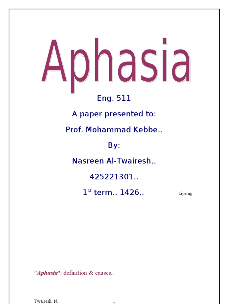 aphasia | aphasia | speech