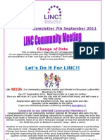 Newsletter 7th September 2011
