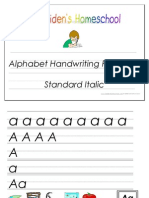 Standard Print Italic Alphabet Handwriting Practice Activity Book, Donnette E Davis, St Aiden's Homeschool