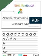 Standard Print Italic Alphabet Handwriting Practice Activity Book, Donnette E Davis, St Aiden's Homeschool