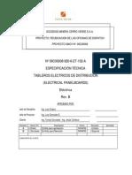 Especificación técnica Tableros Eléctricos de Distribución -