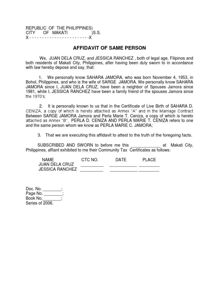 Affidavit of same person sample yadclub Image collections