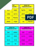 BINGO DE PRONUNCIACIÓN