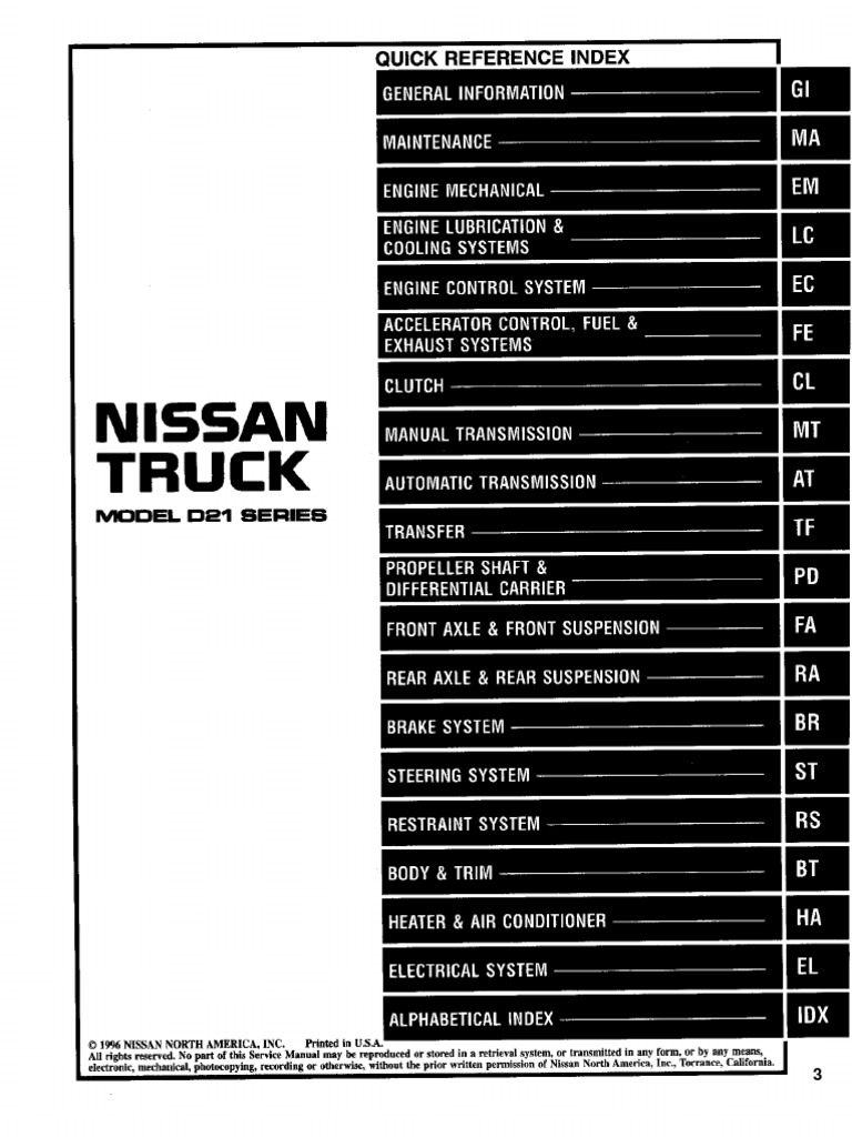 Nissan Truck D21 Service Manual 97 | Systems Engineering ...
