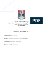 Informe 1 Bases de Datos Distribuidas - Introduccion SQL Plus