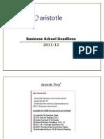 B School Deadlines 2011 12