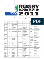 South African Rugby World Cup Television Schedule
