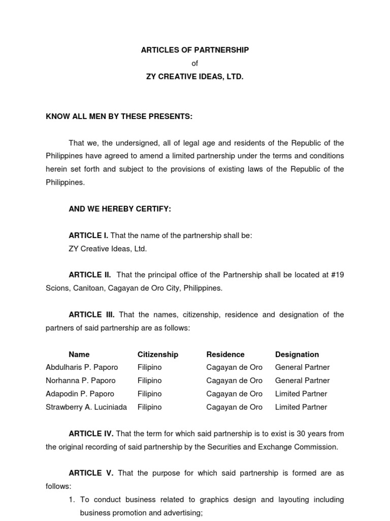 Articles Of Partnership Sample Pdf