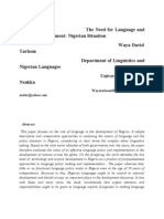 Language and National Development.nigerian Situation. Waya David T. University of Nigeria, Nsukka ...Wayatarhom68@Gmail