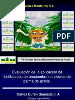 Result a Dos de Fertilización en Presiembra en Etapa de Vivero