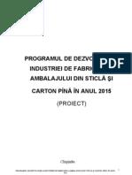 Programul Dezvoltare Industriei Sticlei Cartonului 2015