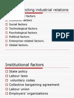 Factors Affecting Industrial Relations