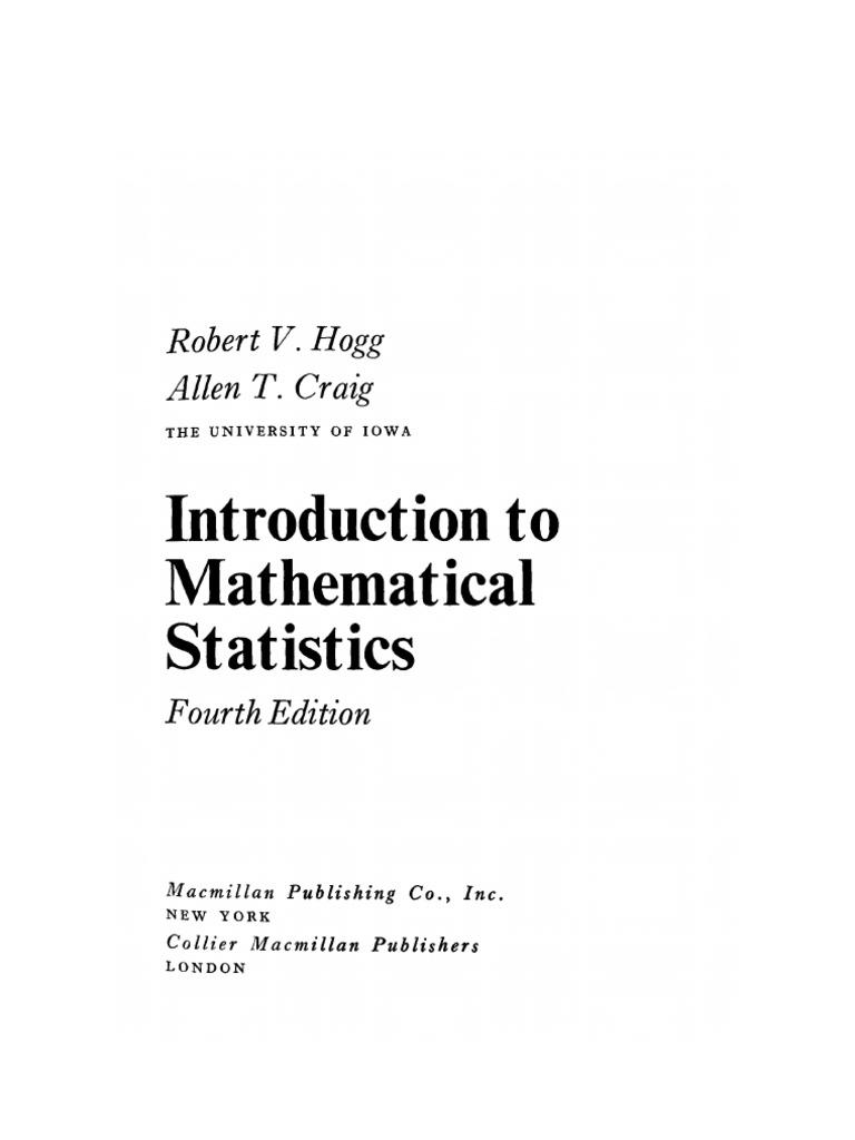 Hogg Craig Mathematical Statistics