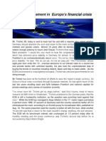ECB's involvement in  Europe's financial   crisis