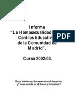 La Homosexualidad en los Centros Educativos de la Comunidad de Madrid