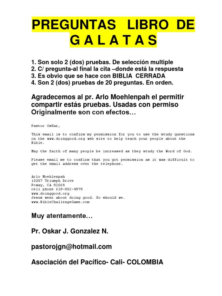 Preguntas Del Libro De Galatas Bernabe Pablo El Apostol
