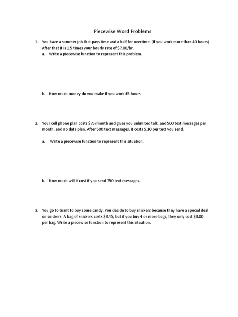 Piecewise Word Problems – Function Word Problems Worksheet