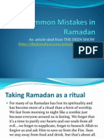 Common Mistakes in Ramadan