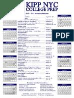 KIPP NYC College Prep - Academic Calendar 2011-2012