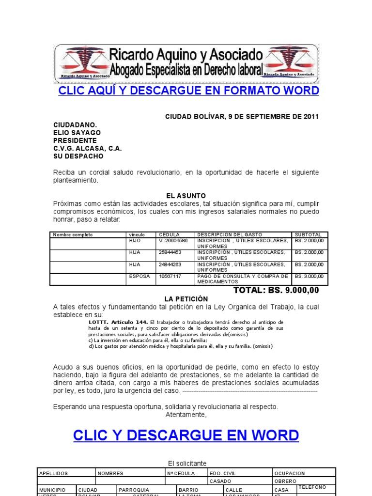 Formato modelo ejemplo solicitud de adelanto de prestaciones Formato de nomina para pago de sueldos