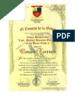 Orden Cnel Manuel Atanasio Girardot conferida a Ing. Omar Torres Cróquer