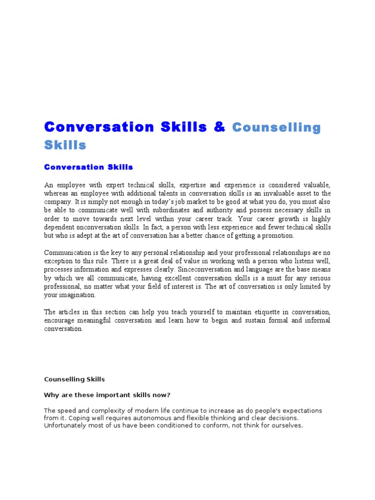 How to start and continue a conversation
