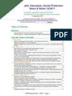 Health, Education, Social Protection News & Notes 19/2011