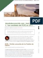 Mundodesconocido.com José Luis C. fue candidato del PCPE en 2011