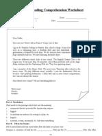 English Reading Comprehension Worksheet